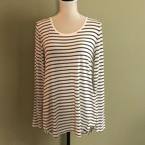 Gap long sleeve cream/black stripe tee